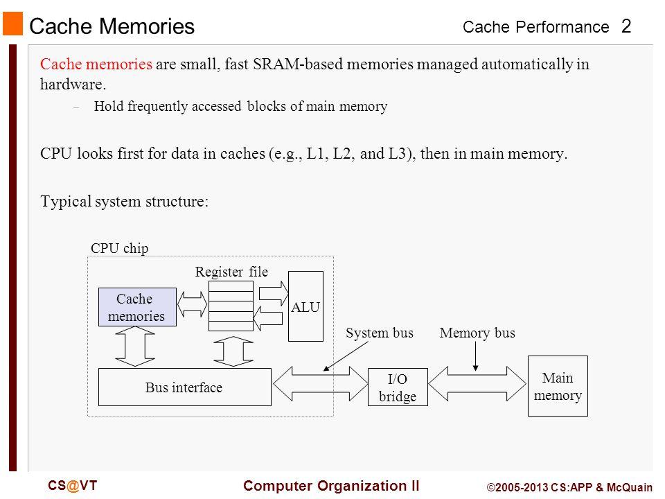 Cache Performance 2 Computer Organization II CS@VT ©2005-2013 CS:APP & McQuain Cache Memories Cache memories are small, fast SRAM-based memories managed automatically in hardware.