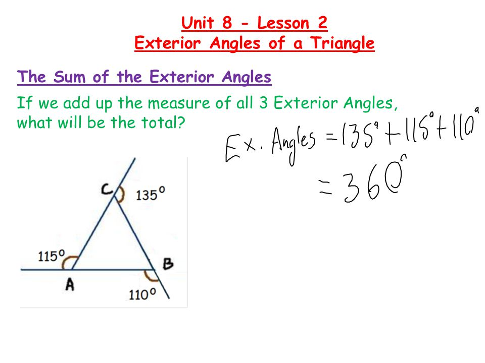 The Sum of the Exterior Angles If we add up the measure of all 3 Exterior Angles, what will be the total.