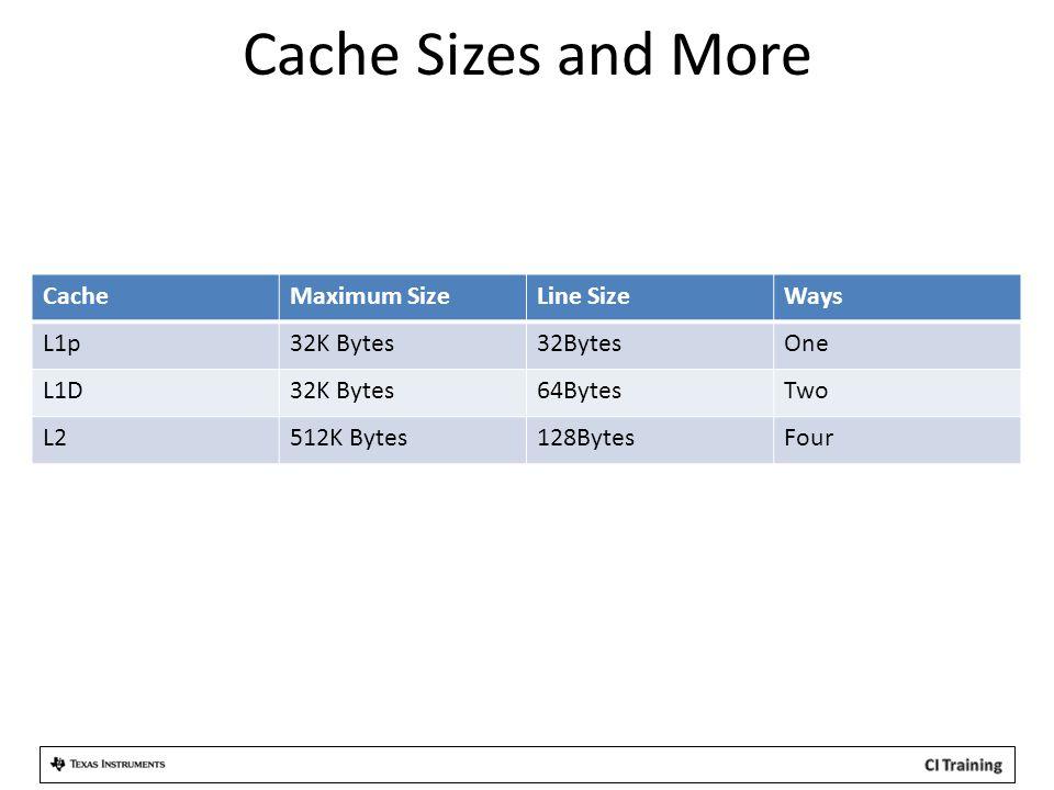 Cache Sizes and More CacheMaximum SizeLine SizeWays L1p32K Bytes32BytesOne L1D32K Bytes64BytesTwo L2512K Bytes128BytesFour