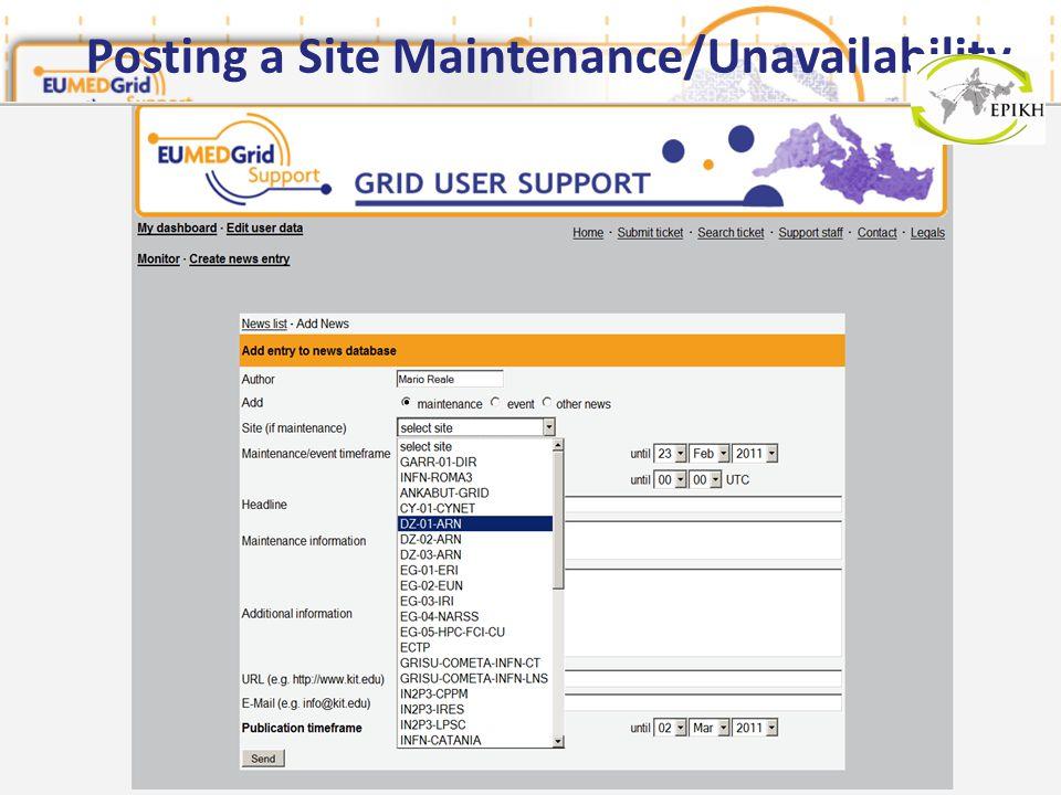 Posting a Site Maintenance/Unavailability