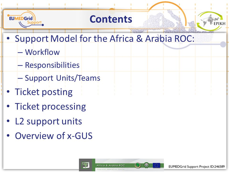 Contents Support Model for the Africa & Arabia ROC: – Workflow – Responsibilities – Support Units/Teams Ticket posting Ticket processing L2 support un