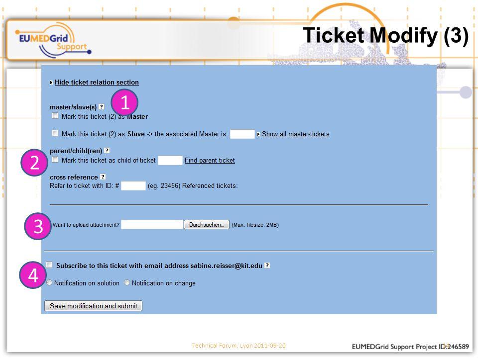 Ticket Modify (3) Technical Forum, Lyon 2011-09-2034 1 2 3 4