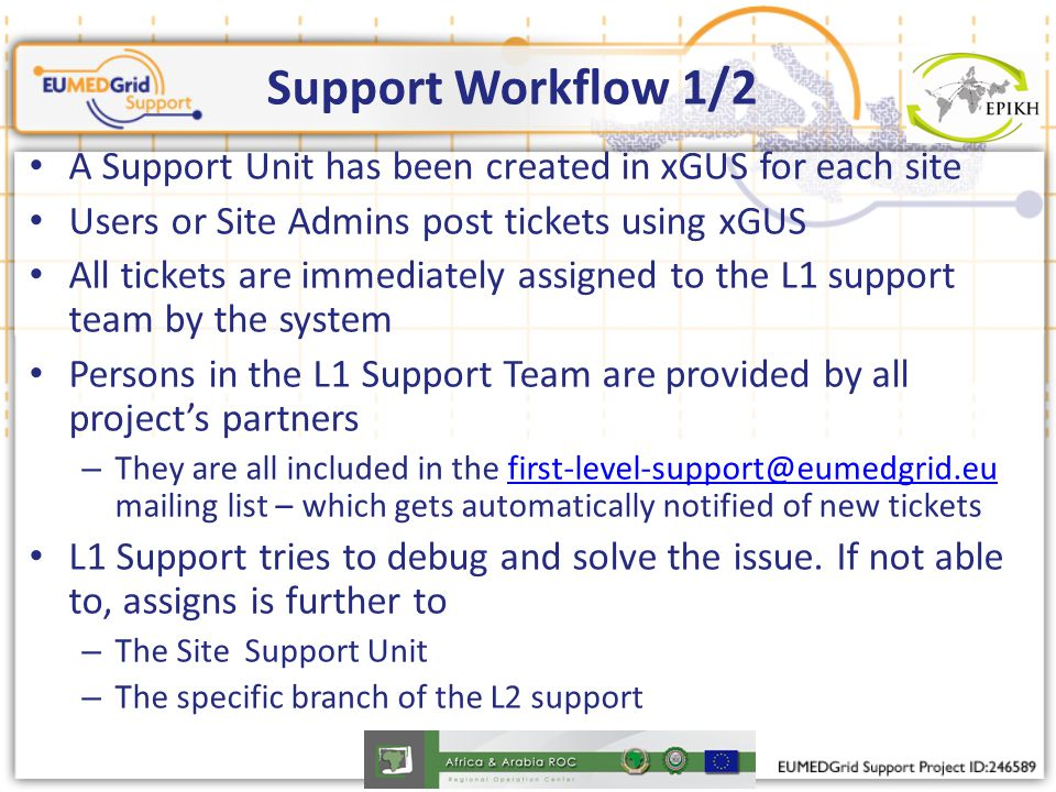 Support Workflow 1/2 A Support Unit has been created in xGUS for each site Users or Site Admins post tickets using xGUS All tickets are immediately assigned to the L1 support team by the system Persons in the L1 Support Team are provided by all project's partners – They are all included in the first-level-support@eumedgrid.eu mailing list – which gets automatically notified of new ticketsfirst-level-support@eumedgrid.eu L1 Support tries to debug and solve the issue.