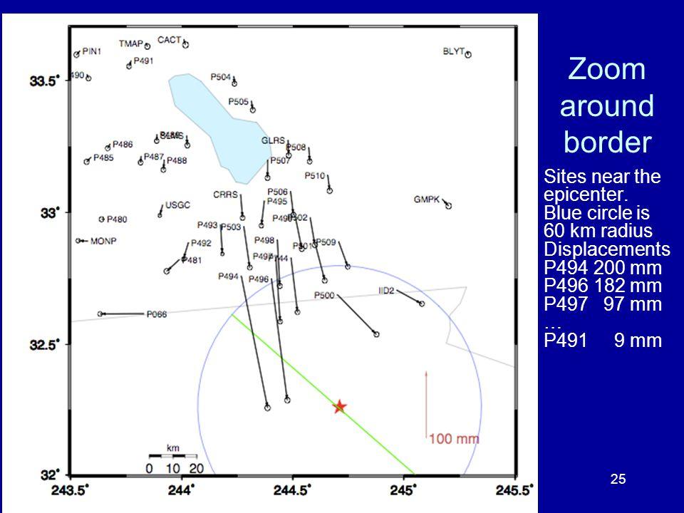 Zoom around border Sites near the epicenter.