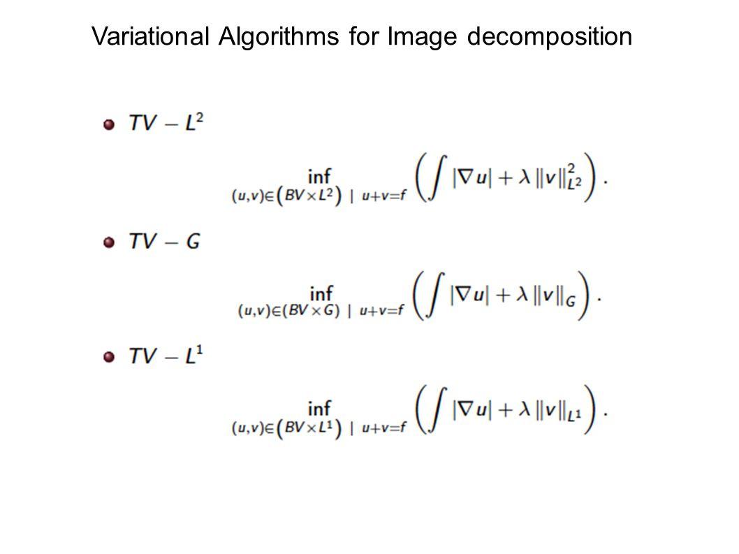 Variational Algorithms for Image decomposition