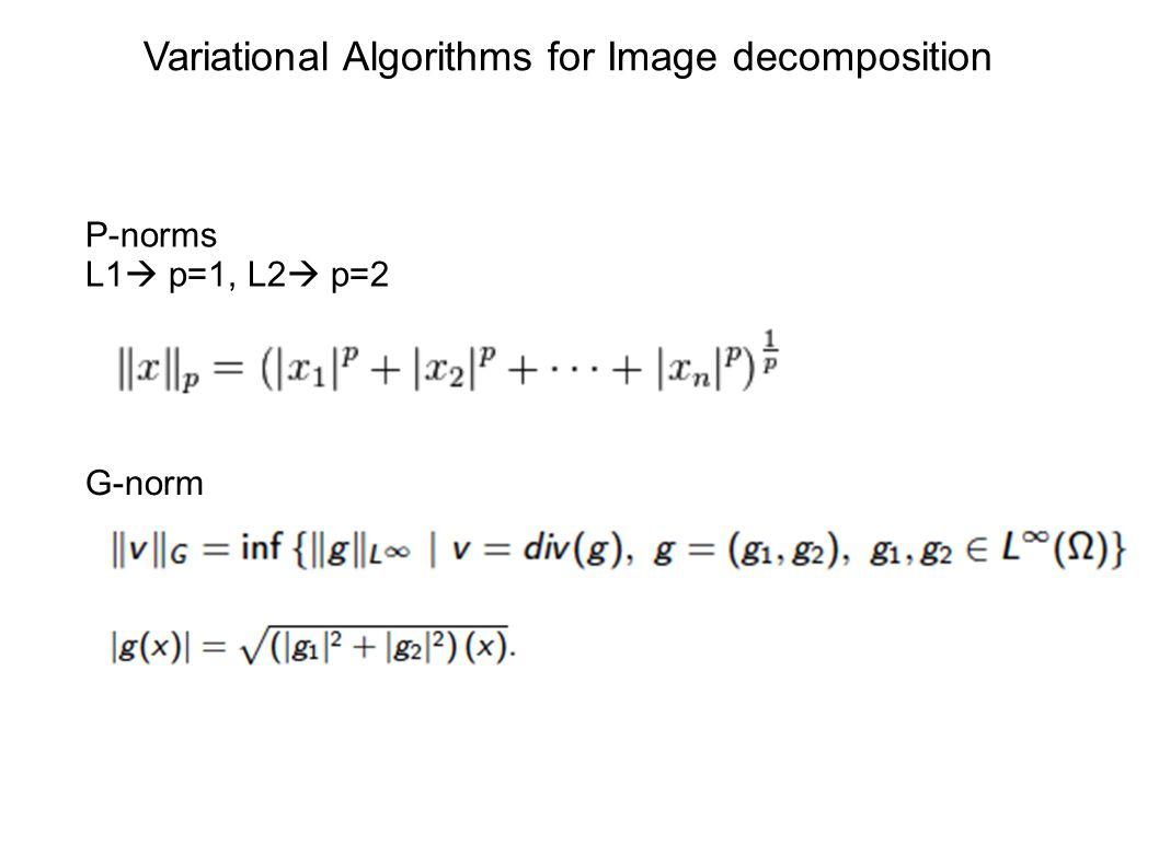 P-norms L1  p=1, L2  p=2 G-norm Variational Algorithms for Image decomposition
