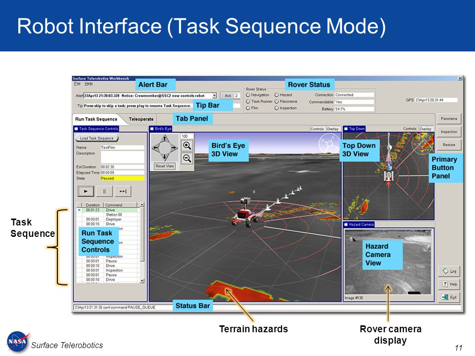 11 Surface Telerobotics Robot Interface (Task Sequence Mode) Terrain hazardsRover camera display Task Sequence