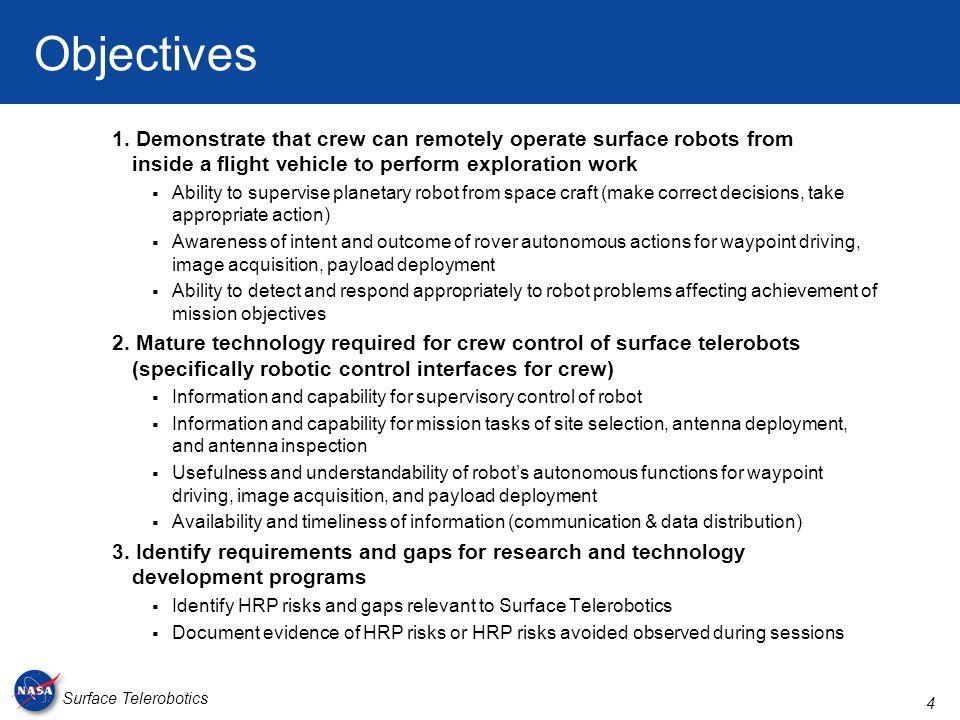 4 Surface Telerobotics Objectives 1.