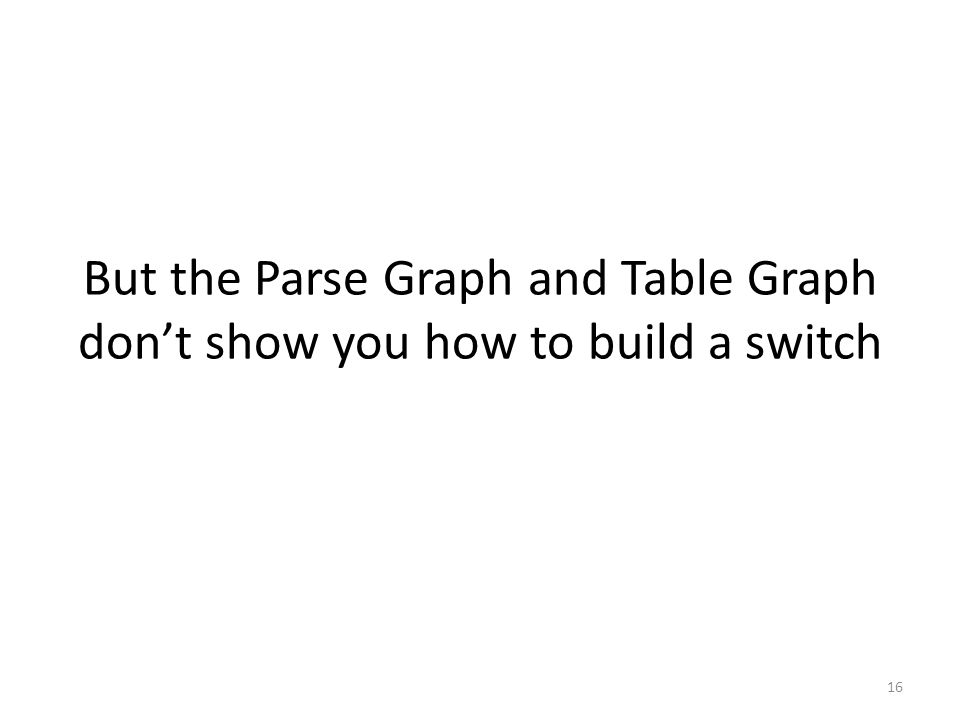 But the Parse Graph and Table Graph don't show you how to build a switch 16