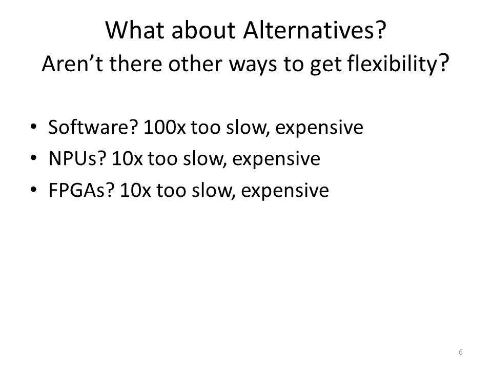 What about Alternatives? Aren't there other ways to get flexibility ? Software? 100x too slow, expensive NPUs? 10x too slow, expensive FPGAs? 10x too