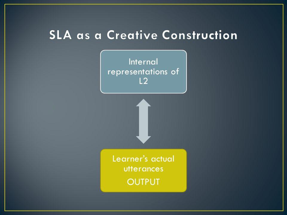 Internal representations of L2 Learner's actual utterances OUTPUT