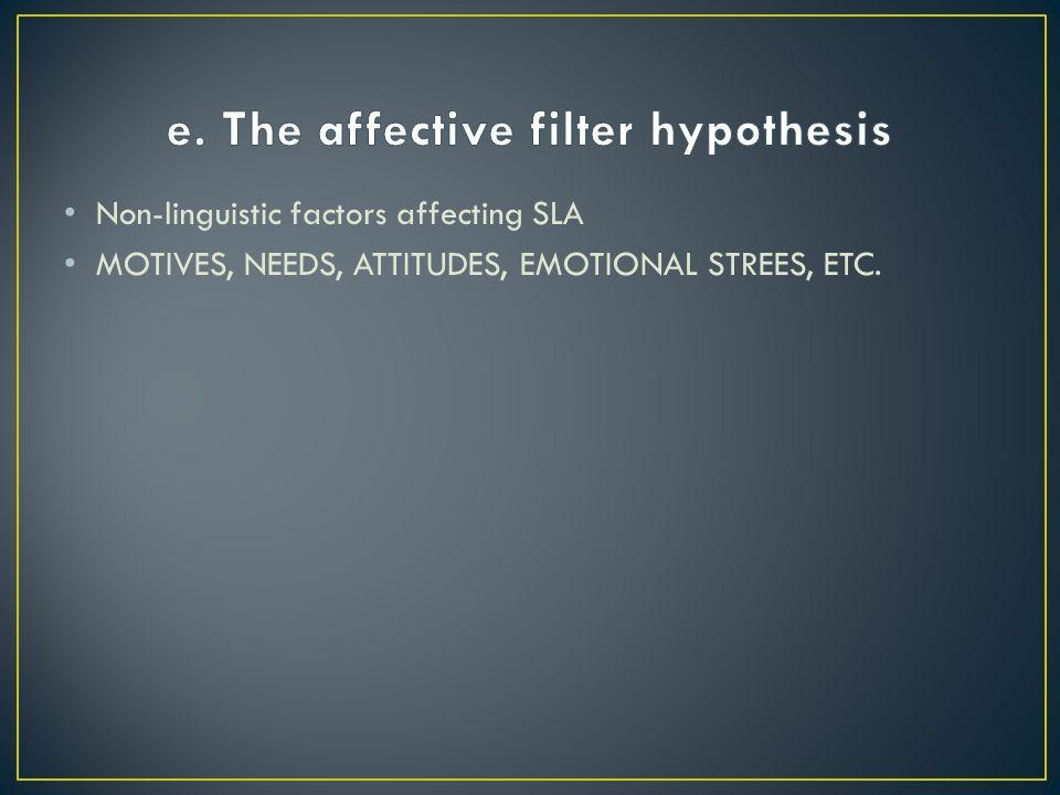 Non-linguistic factors affecting SLA MOTIVES, NEEDS, ATTITUDES, EMOTIONAL STREES, ETC.