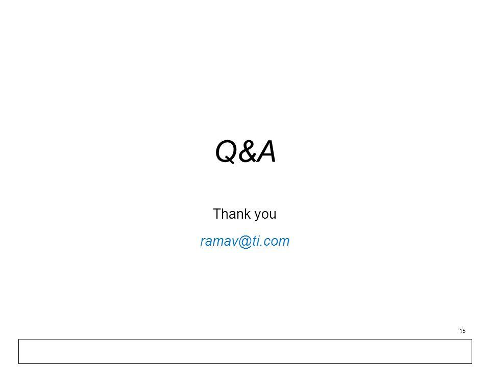 Q&A Thank you ramav@ti.com 15