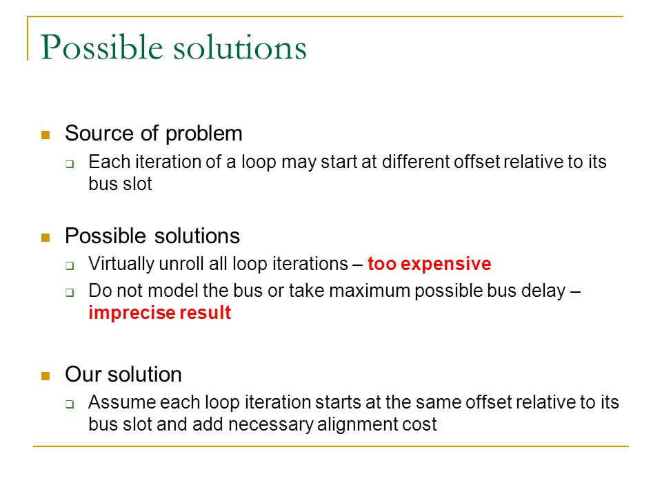 Possible solutions Source of problem  Each iteration of a loop may start at different offset relative to its bus slot Possible solutions  Virtually