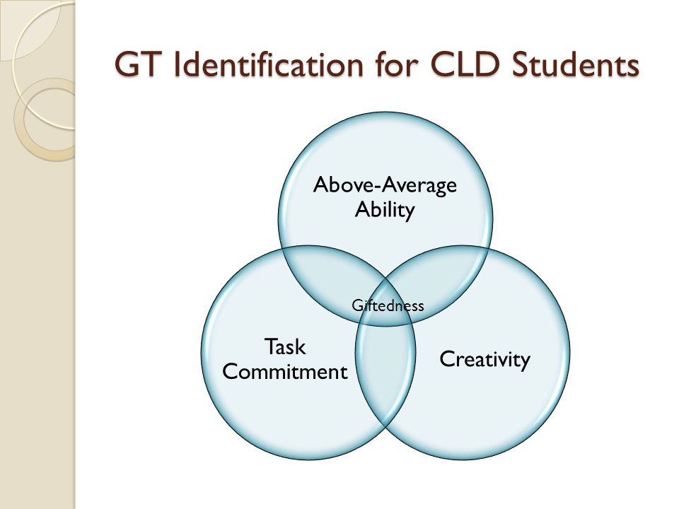 GT Identification for CLD Students Above-Average Ability Creativity Task Commitment Giftedness