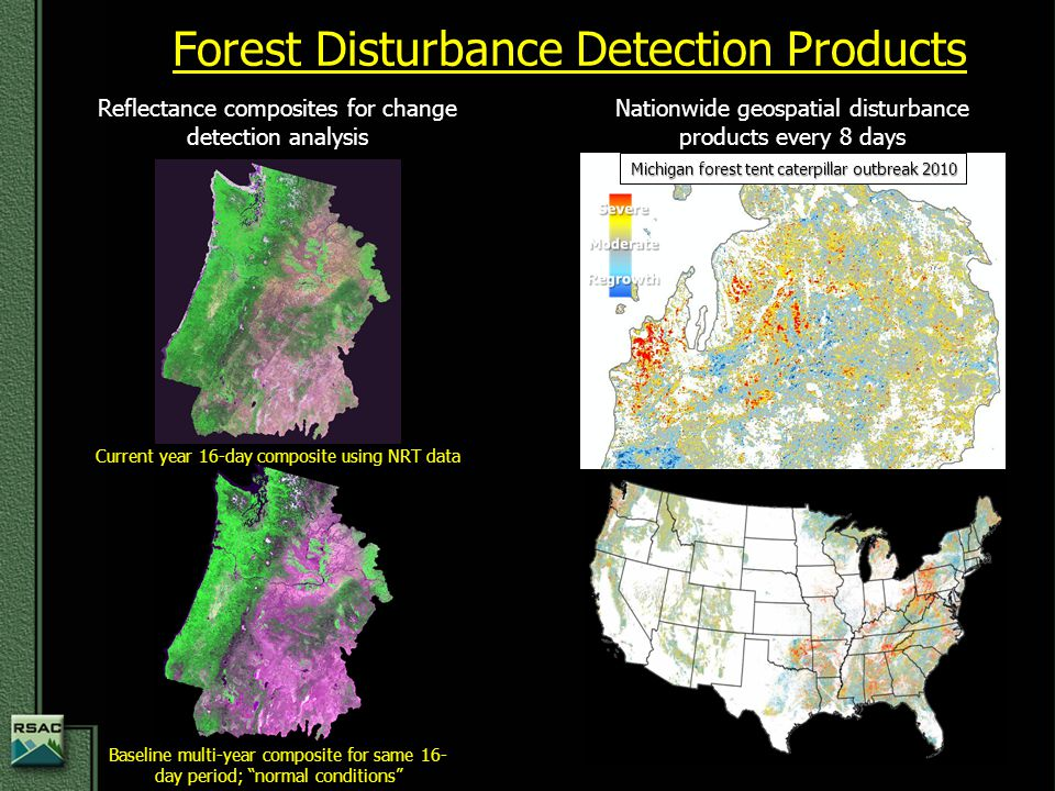 Forest Disturbance Detection Products Reflectance composites for change detection analysis Nationwide geospatial disturbance products every 8 days Mic