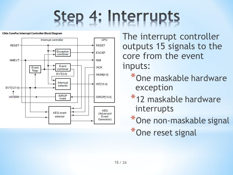 The interrupt controller outputs 15 signals to the core from the event inputs: * One maskable hardware exception * 12 maskable hardware interrupts * One non-maskable signal * One reset signal 16 / 26