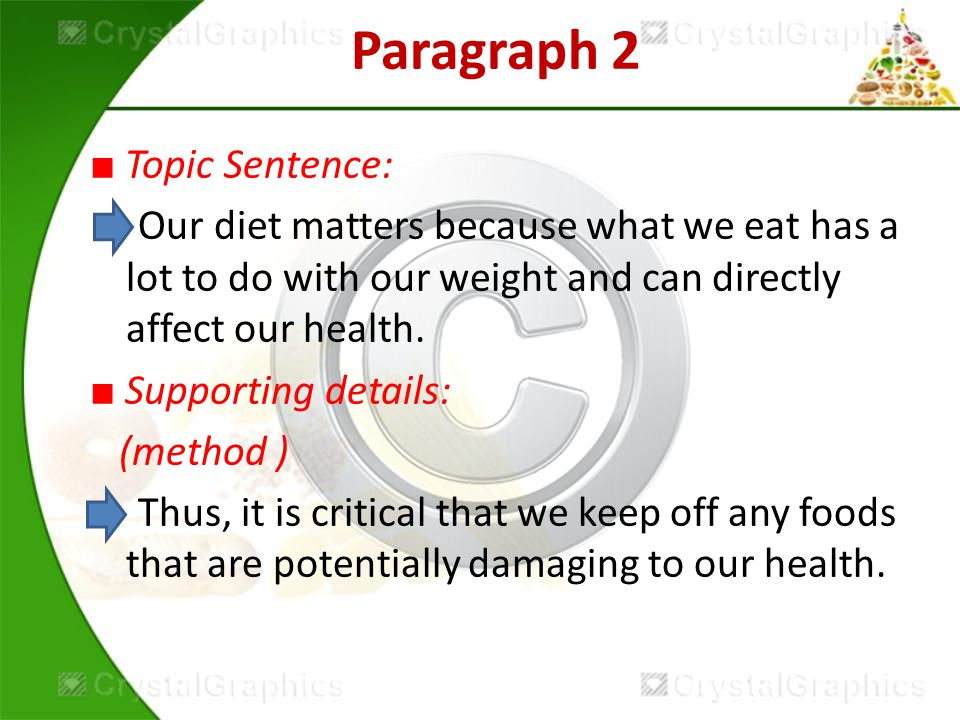 Paragraph 2 ■ Topic Sentence: Our diet matters because what we eat has a lot to do with our weight and can directly affect our health.