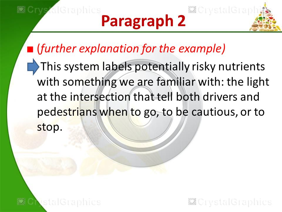 Paragraph 2 ■ (further explanation for the example) This system labels potentially risky nutrients with something we are familiar with: the light at the intersection that tell both drivers and pedestrians when to go, to be cautious, or to stop.