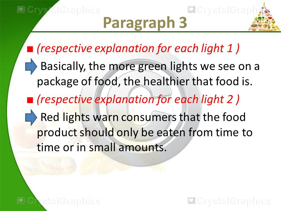Paragraph 3 ■ (respective explanation for each light 1 ) Basically, the more green lights we see on a package of food, the healthier that food is.