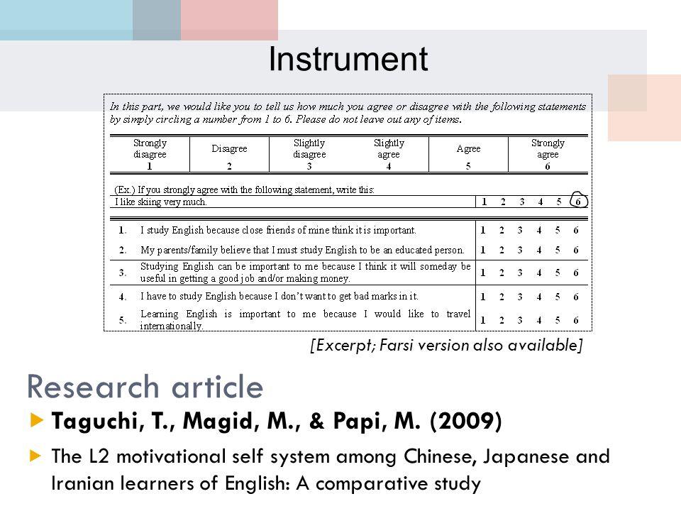 Research article [Excerpt; Farsi version also available]  Taguchi, T., Magid, M., & Papi, M.