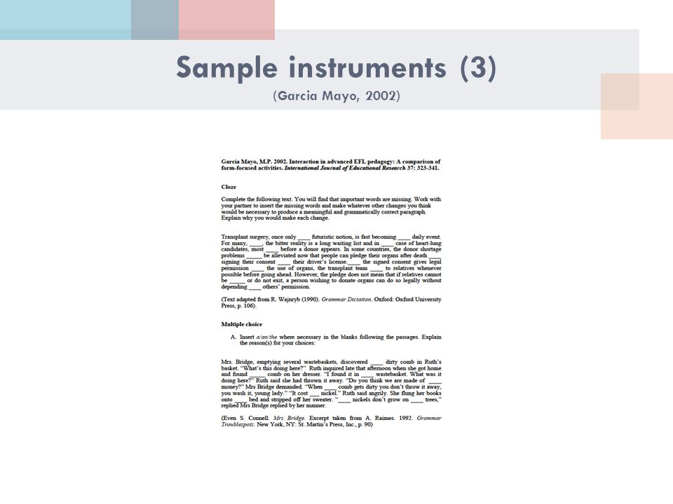 Sample instruments (3) (Garcia Mayo, 2002)