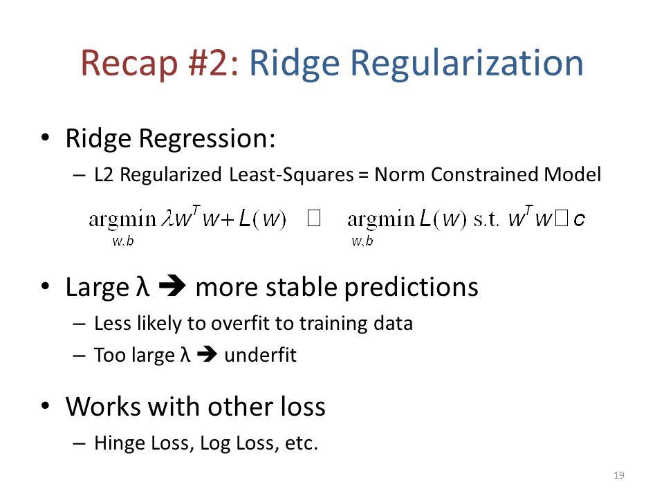 Recap #2: Ridge Regularization Ridge Regression: – L2 Regularized Least-Squares = Norm Constrained Model Large λ  more stable predictions – Less like