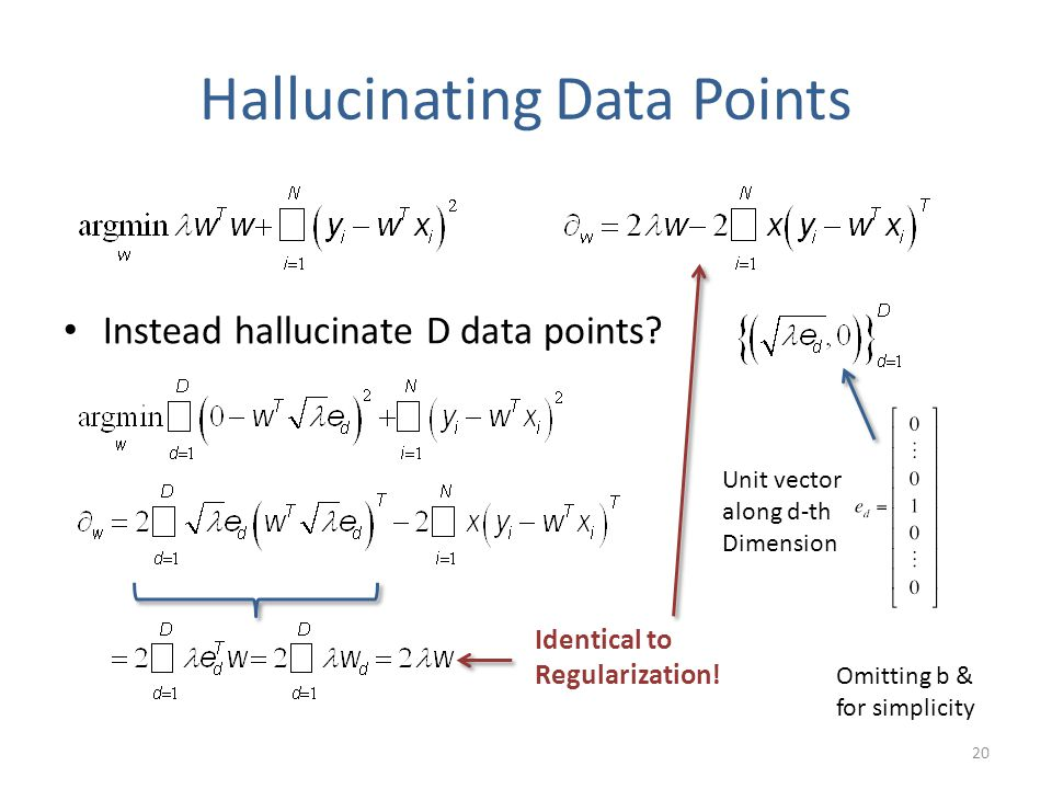 Hallucinating Data Points Instead hallucinate D data points? Omitting b & for simplicity Identical to Regularization! Unit vector along d-th Dimension