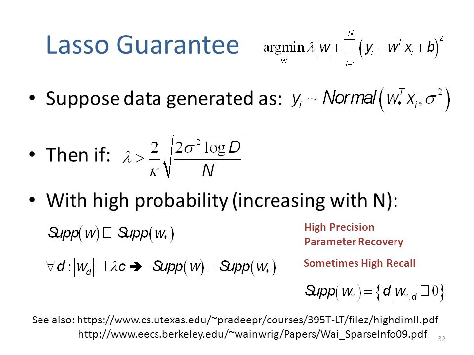 Lasso Guarantee Suppose data generated as: Then if: With high probability (increasing with N): See also: https://www.cs.utexas.edu/~pradeepr/courses/3