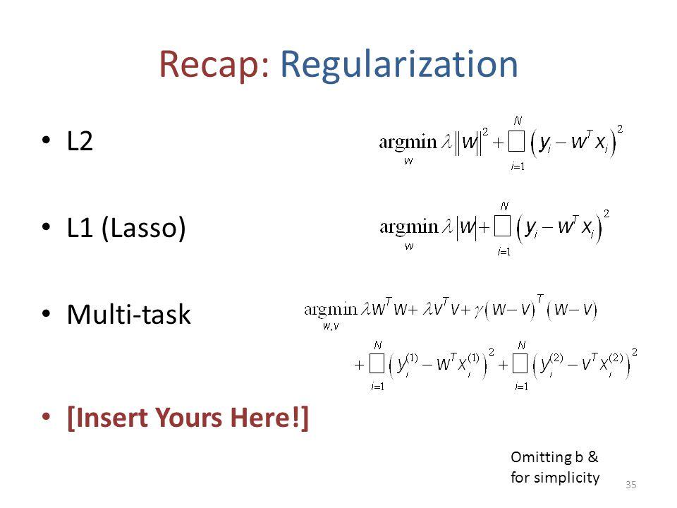 Recap: Regularization L2 L1 (Lasso) Multi-task [Insert Yours Here!] 35 Omitting b & for simplicity