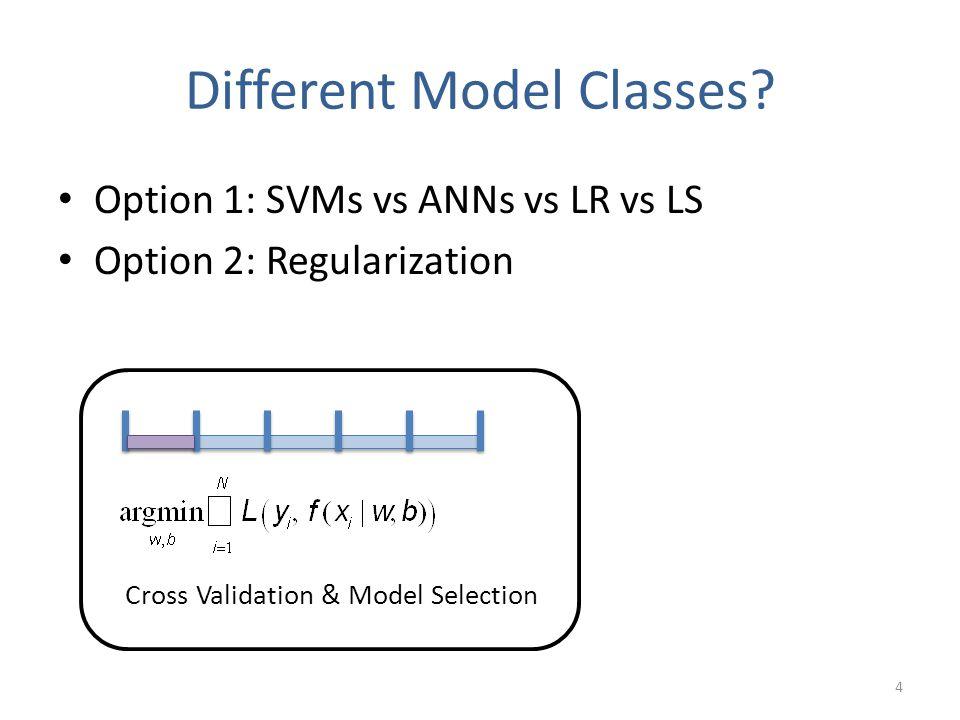 Different Model Classes? Cross Validation & Model Selection Option 1: SVMs vs ANNs vs LR vs LS Option 2: Regularization 4