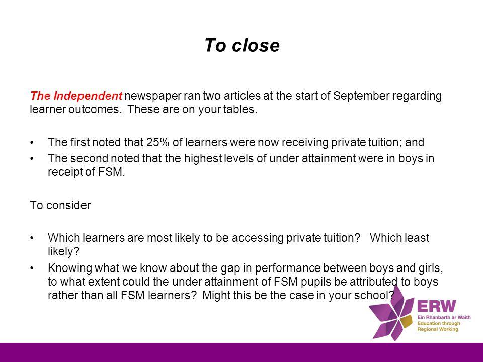 To close The Independent newspaper ran two articles at the start of September regarding learner outcomes.