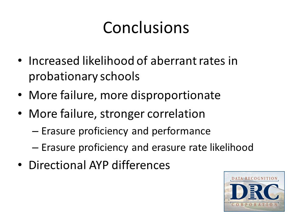 Conclusions Increased likelihood of aberrant rates in probationary schools More failure, more disproportionate More failure, stronger correlation – Er