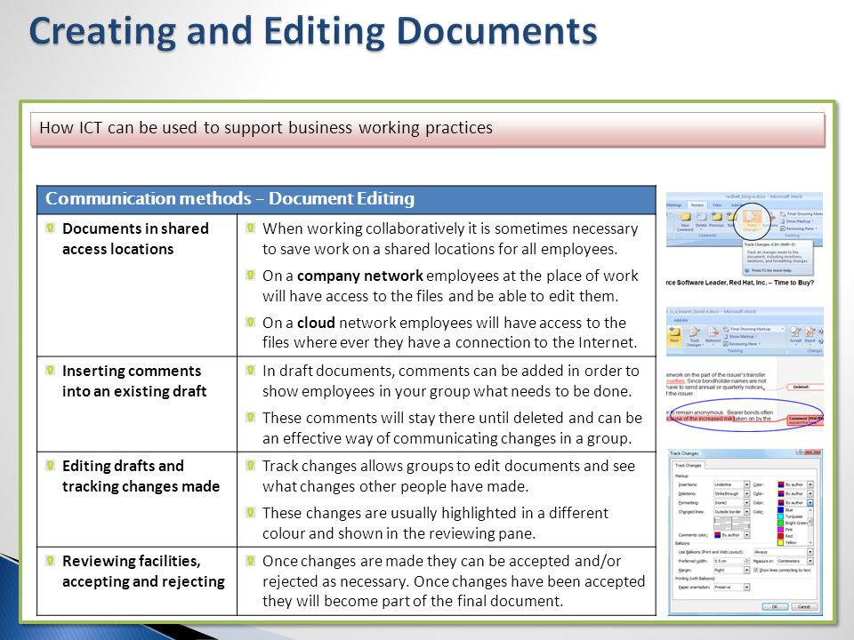 How ICT can be used to support business working practices Communication methods – Document Editing Documents in shared access locations When working c