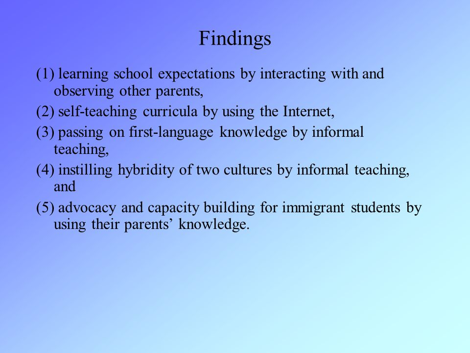 Findings (1) learning school expectations by interacting with and observing other parents, (2) self-teaching curricula by using the Internet, (3) passing on first-language knowledge by informal teaching, (4) instilling hybridity of two cultures by informal teaching, and (5) advocacy and capacity building for immigrant students by using their parents' knowledge.