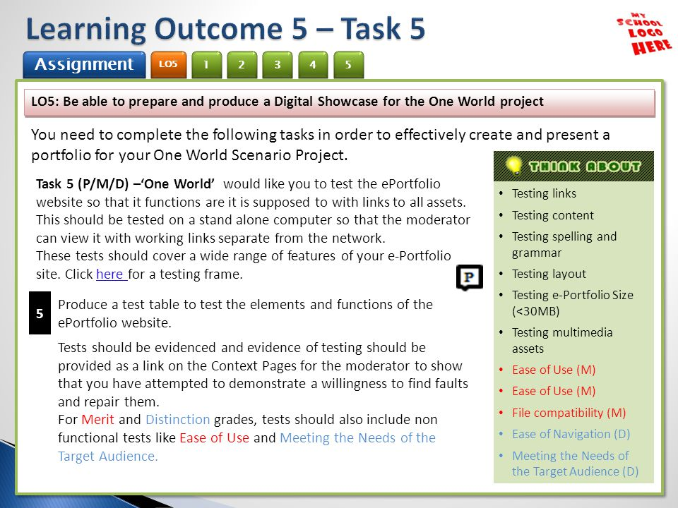 1 Assignment 2 LO5 345 LO5: Be able to prepare and produce a Digital Showcase for the One World project You need to complete the following tasks in order to effectively create and present a portfolio for your One World Scenario Project.