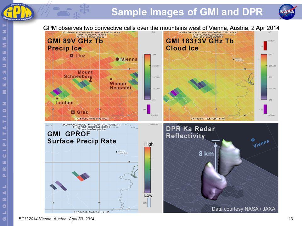 13EGU 2014-Vienna Austria, April 30, 2014 Sample Images of GMI and DPR