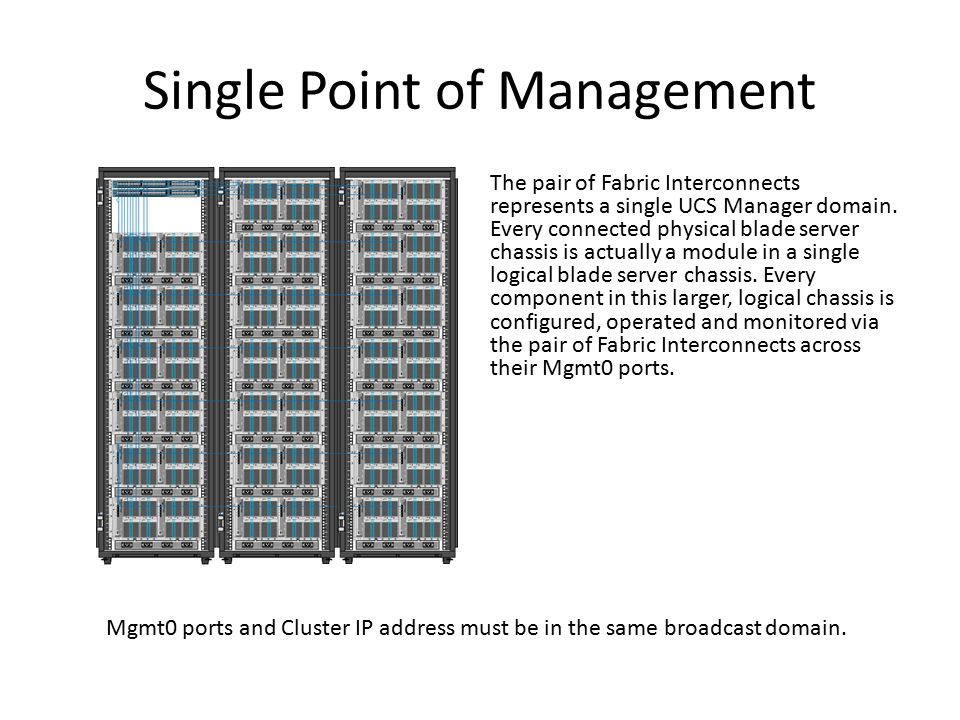 Single Point of Management The pair of Fabric Interconnects represents a single UCS Manager domain. Every connected physical blade server chassis is a