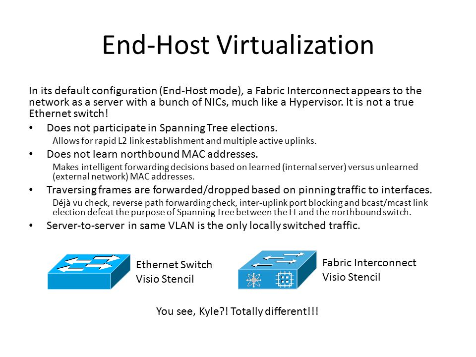 End-Host Virtualization In its default configuration (End-Host mode), a Fabric Interconnect appears to the network as a server with a bunch of NICs, m
