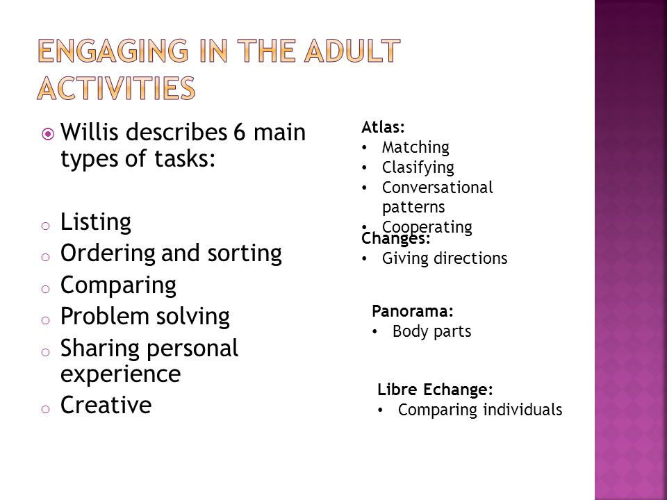  Willis describes 6 main types of tasks: o Listing o Ordering and sorting o Comparing o Problem solving o Sharing personal experience o Creative Atlas: Matching Clasifying Conversational patterns Cooperating Changes: Giving directions Panorama: Body parts Libre Echange: Comparing individuals