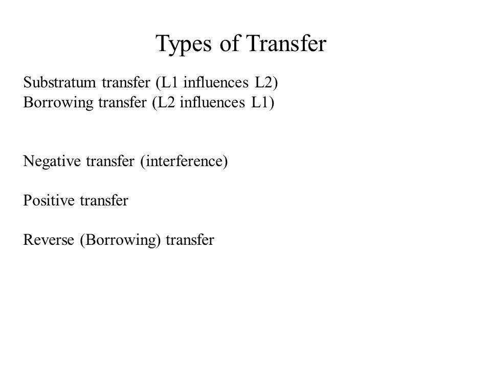 Types of Transfer Substratum transfer (L1 influences L2) Borrowing transfer (L2 influences L1) Negative transfer (interference) Positive transfer Reve