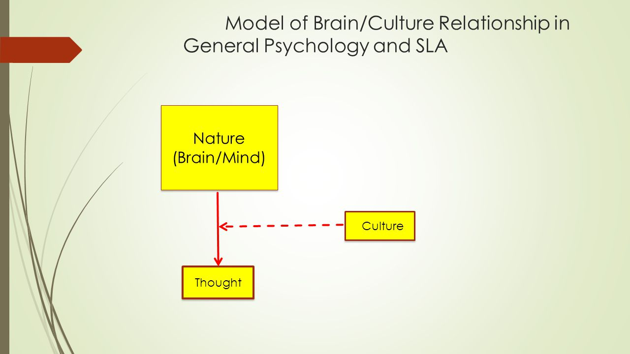Model of Brain/Culture Relationship in General Psychology and SLA Nature (Brain/Mind) Culture Thought