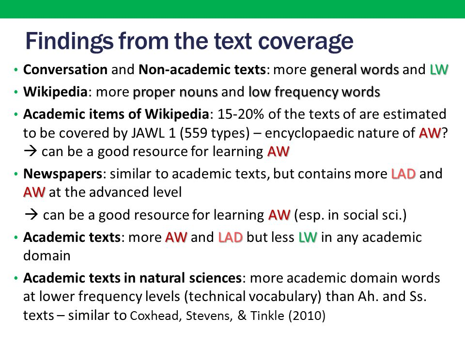 Findings from the text coverage general wordsLW Conversation and Non-academic texts: more general words and LW proper nouns low frequency words Wikipedia: more proper nouns and low frequency words AW AW Academic items of Wikipedia: 15-20% of the texts of are estimated to be covered by JAWL 1 (559 types) – encyclopaedic nature of AW.