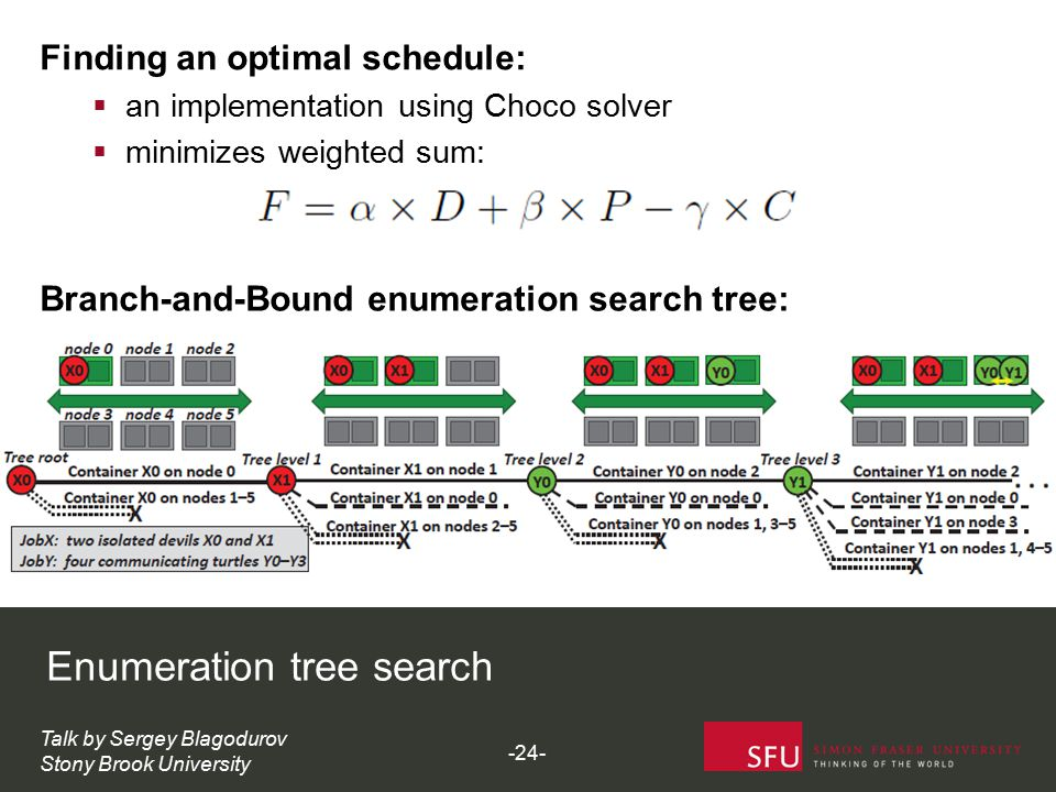 Enumeration tree search Talk by Sergey Blagodurov Stony Brook University Branch-and-Bound enumeration search tree: -24- Finding an optimal schedule:  an implementation using Choco solver  minimizes weighted sum:
