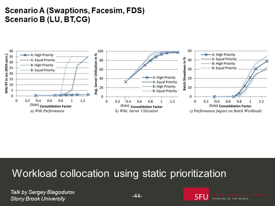 Workload collocation using static prioritization Talk by Sergey Blagodurov Stony Brook University Scenario A (Swaptions, Facesim, FDS) Scenario B (LU,