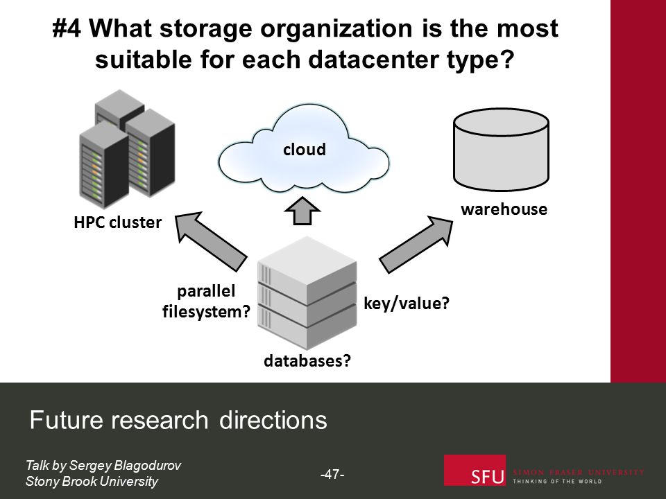 cloud HPC cluster warehouse key/value? parallel databases? filesystem? Future research directions Talk by Sergey Blagodurov Stony Brook University #4