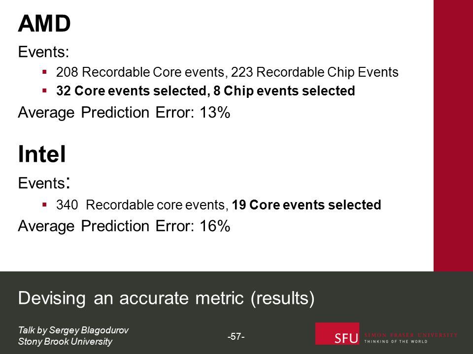 Intel Events :  340 Recordable core events, 19 Core events selected Average Prediction Error: 16% AMD Events:  208 Recordable Core events, 223 Recor