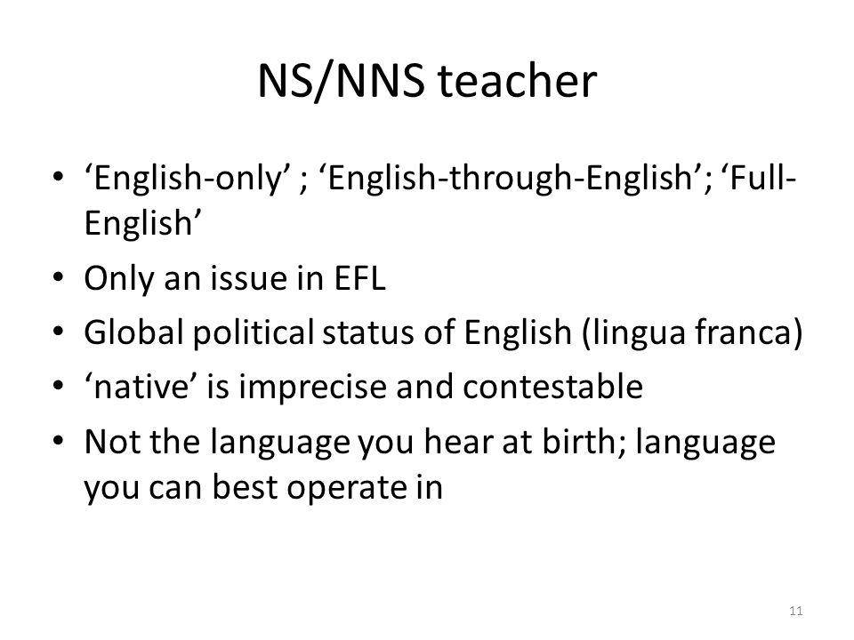 Native speaker teacher Non-native speaker teacher Backdrop 1 10