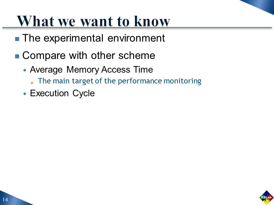 The experimental environment Compare with other scheme  Average Memory Access Time 。 The main target of the performance monitoring  Execution Cycle 14