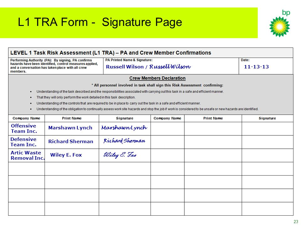 L1 TRA Form - Signature Page Offensive Team Inc. Marshawn Lynch Defensive Team Inc. Richard Sherman 11-13-13 Artic Waste Removal Inc. Wiley E. Fox Rus